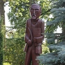 Zdj. nr 154;Rzeźba Henryka Sienkiewicza w Woli Okrzewskiej